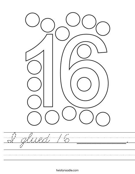 I glued 16 __________. Worksheet