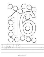 I glued 16 __________ Handwriting Sheet