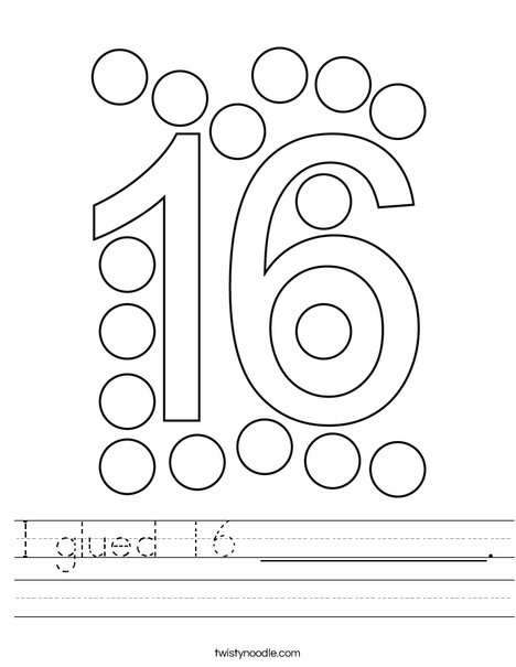 I glued 16 __________. Worksheet
