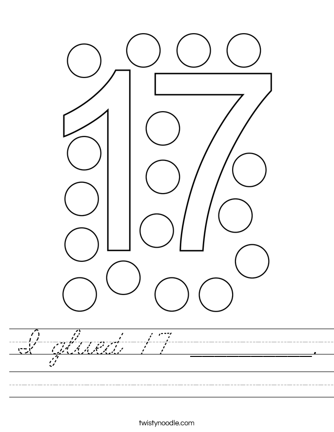 I glued 17 __________. Worksheet