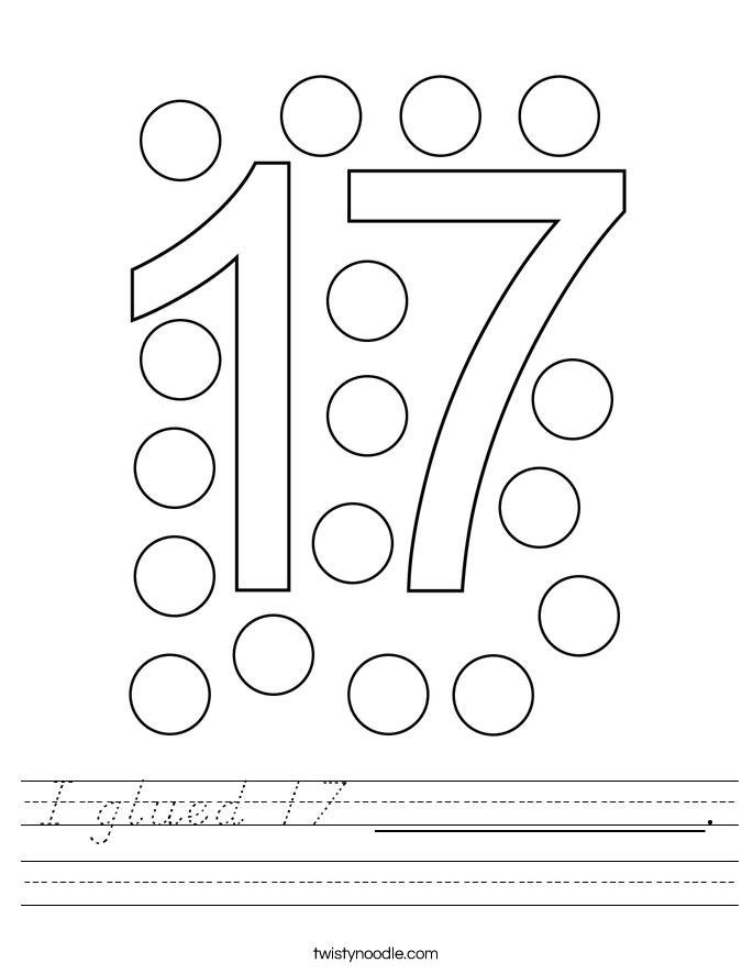 I glued 17 __________. Worksheet