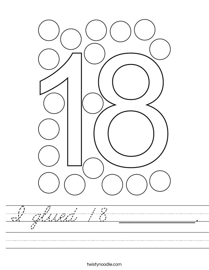 I glued 18 __________. Worksheet