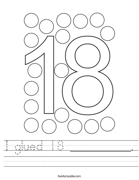 I glued 18 __________. Worksheet