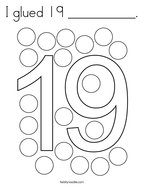 I glued 19 __________ Coloring Page
