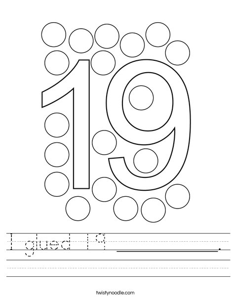 I glued 19 __________. Worksheet