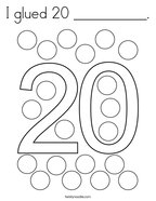 I glued 20 __________ Coloring Page