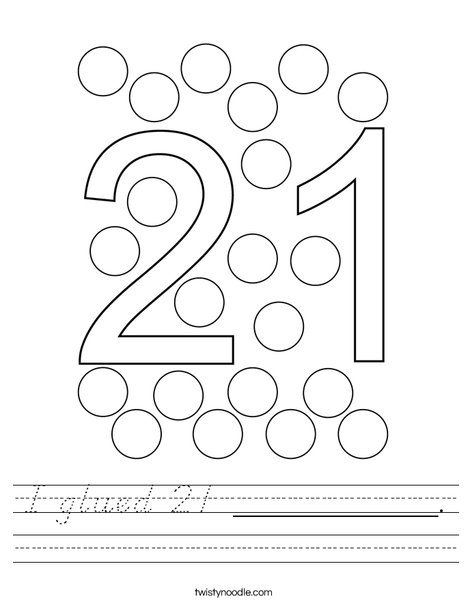 I glued 21 __________. Worksheet