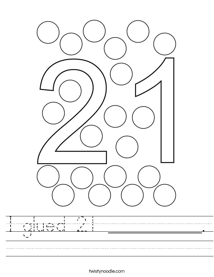 I glued 21 __________. Worksheet