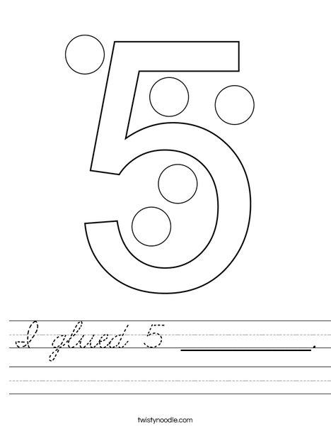 I glued 5 __________. Worksheet