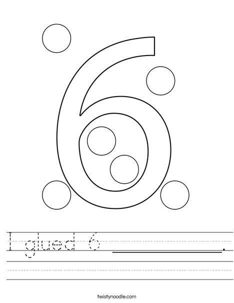 I glued 6 __________. Worksheet