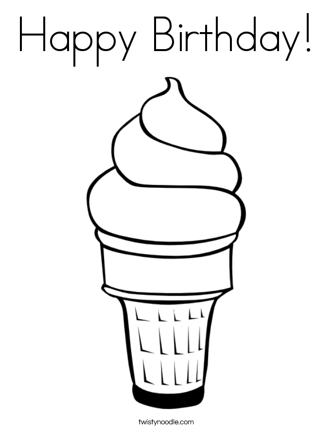 Happy Birthday Coloring Page - Twisty Noodle