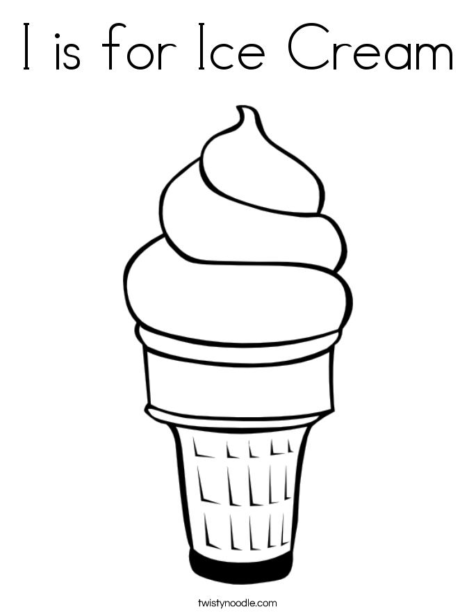 I Is For Ice Cream Coloring Page.