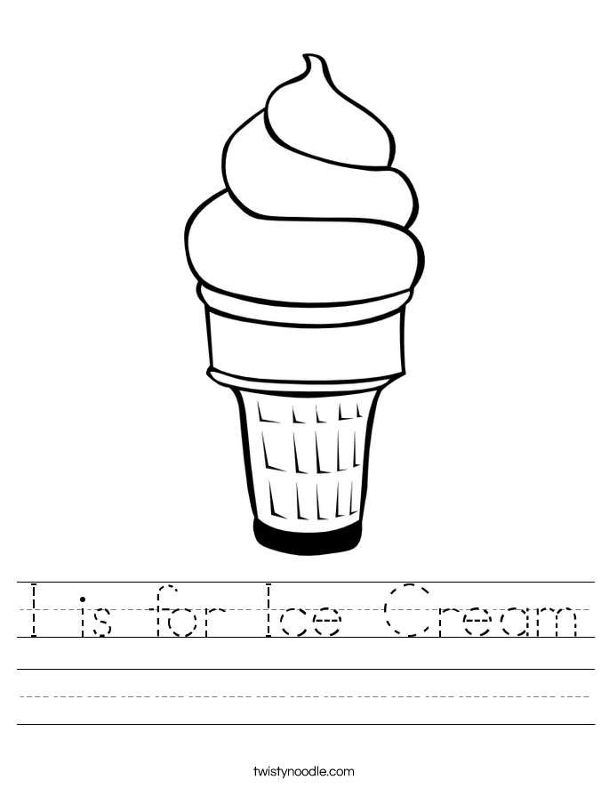 I Is For Ice Cream Worksheet Twisty Noodle