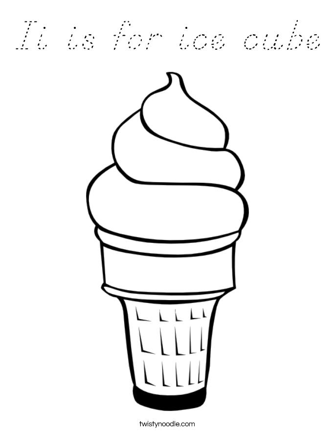 Ii is for ice cube Coloring Page