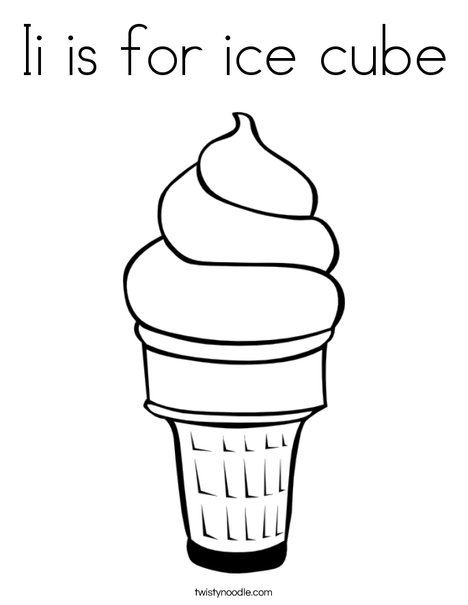 Ii is for ice cube Coloring Page - Twisty Noodle