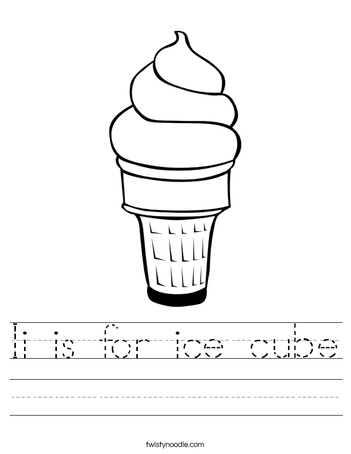 Ii is for ice cube Worksheet