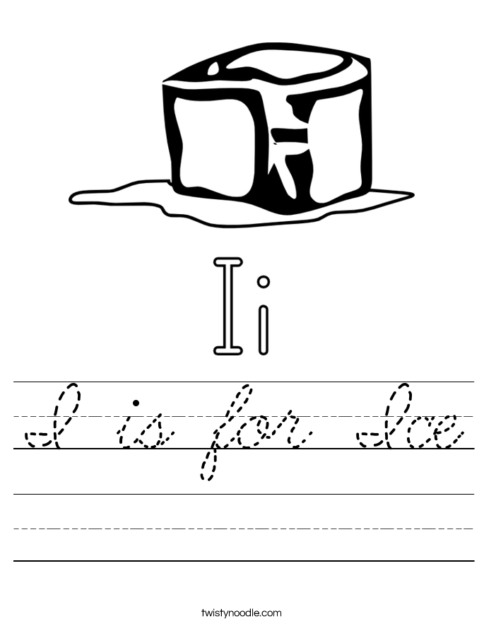 I is for Ice Worksheet
