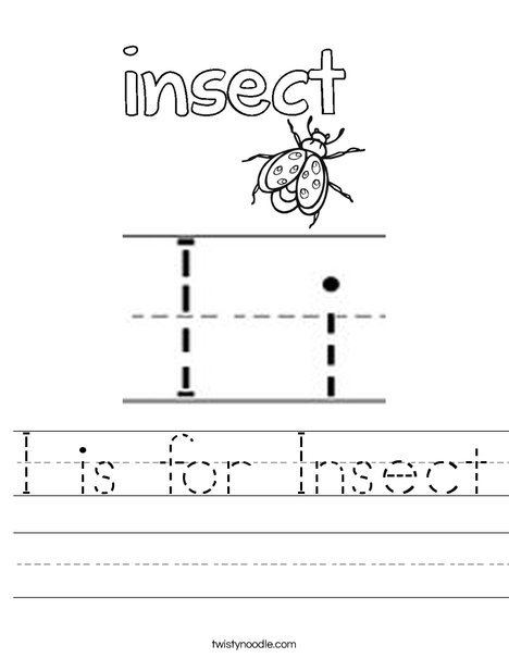 I is for Insect Worksheet