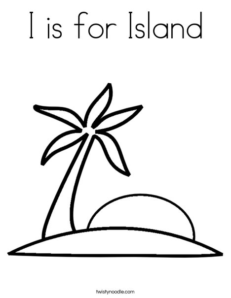 I is for Island Coloring Page