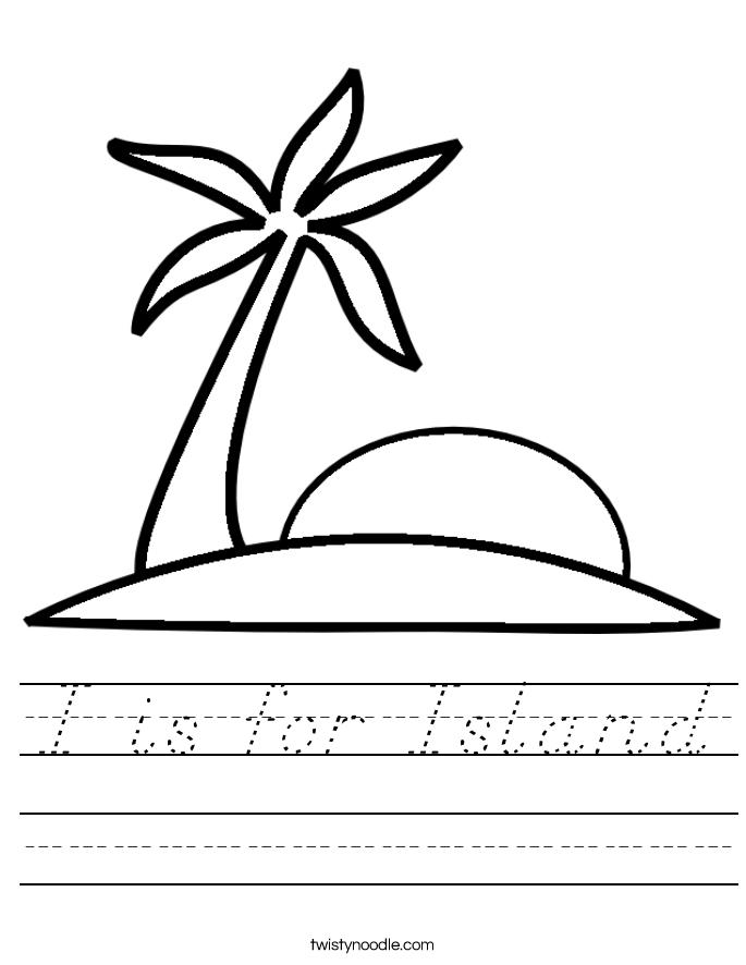 I is for Island Worksheet