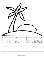 I is for Island Handwriting Sheet
