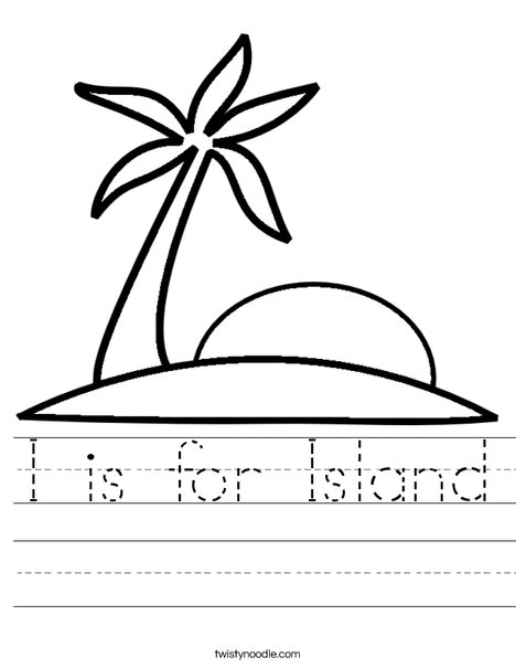 I is for Island Worksheet - Twisty Noodle
