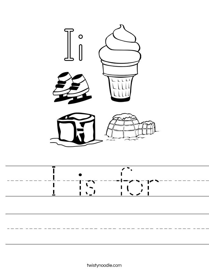 Letter I Worksheets Twisty Noodle – Letter I Worksheet