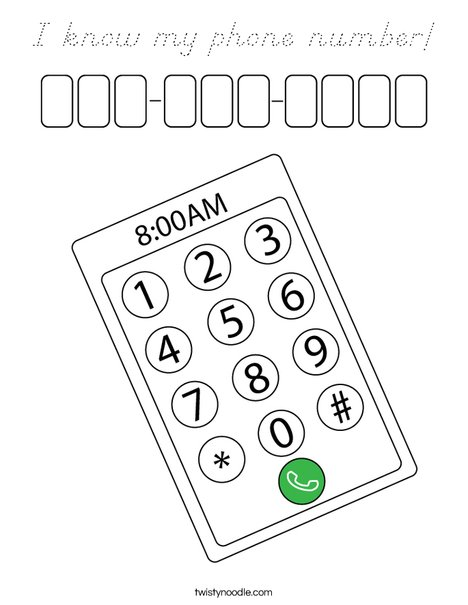 I know my phone number! Coloring Page