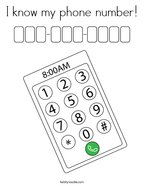 I know my phone number Coloring Page