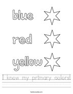 I know my primary colors Handwriting Sheet