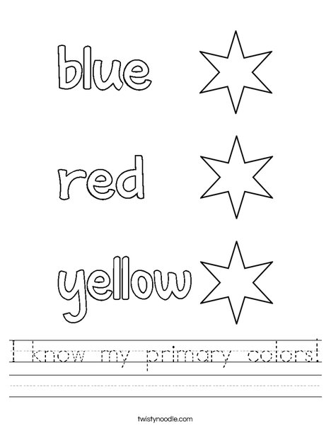 I Know My Primary Colors Worksheet - Twisty Noodle