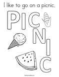 I like to go on a picnic. Coloring Page