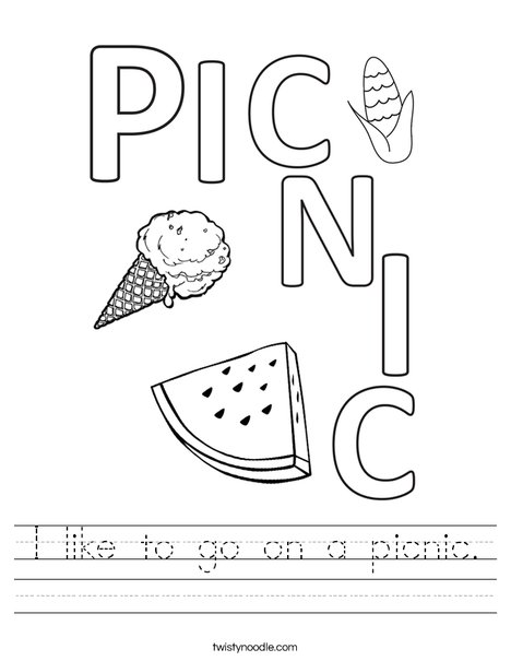 I like to go on a picnic. Worksheet