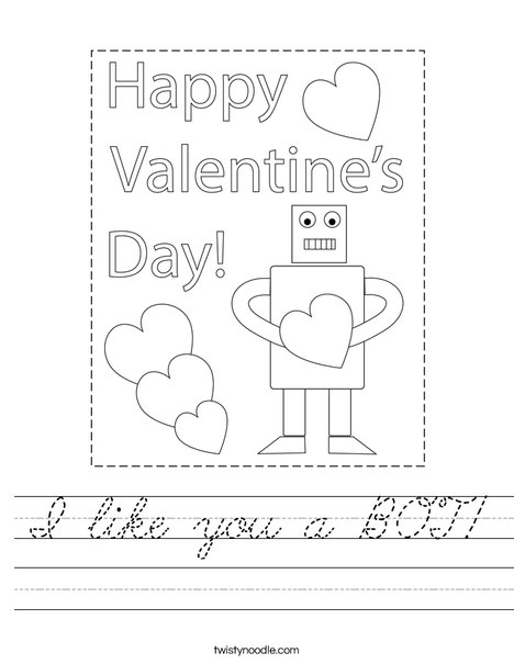 I like you a BOT! Worksheet