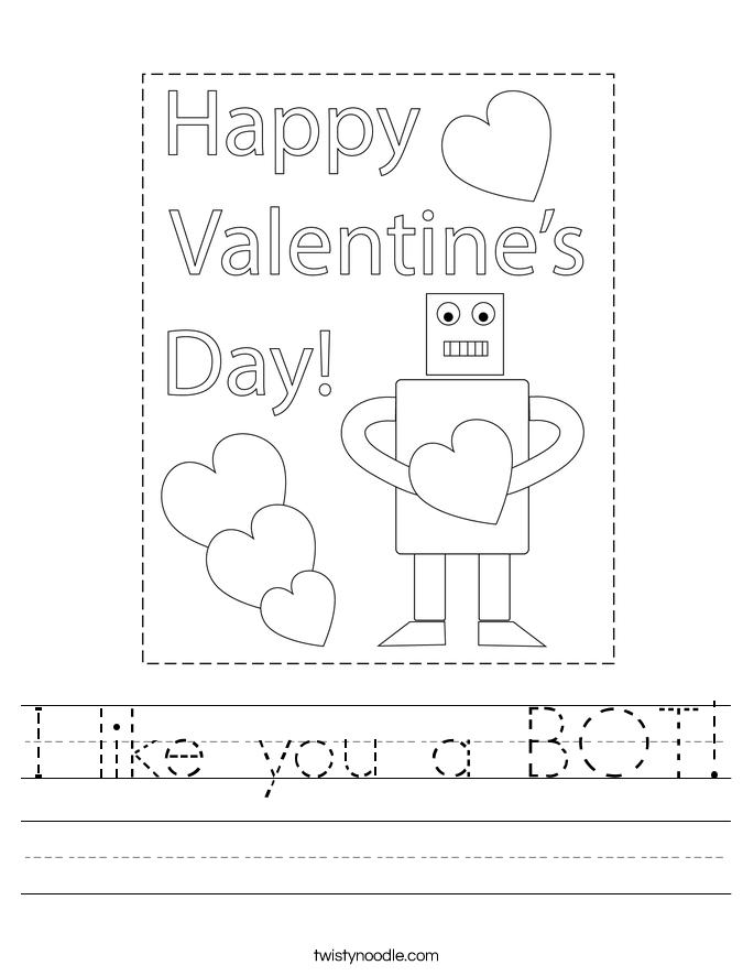 I like you a BOT! Worksheet