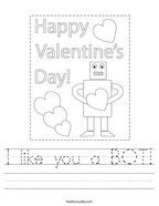 I like you a BOT Handwriting Sheet
