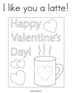 I like you a latte Coloring Page