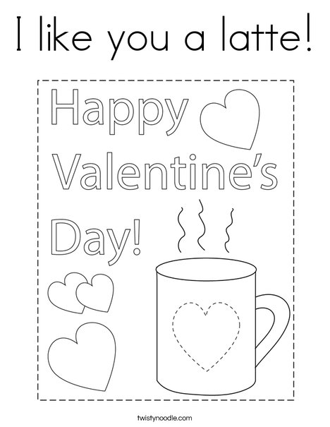 I like you a latte! Coloring Page