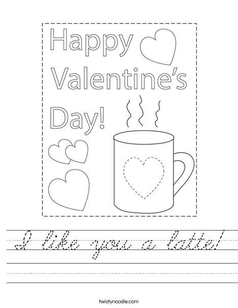 I like you a latte! Worksheet