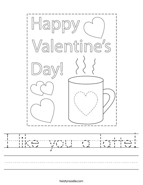 I like you a latte! Worksheet
