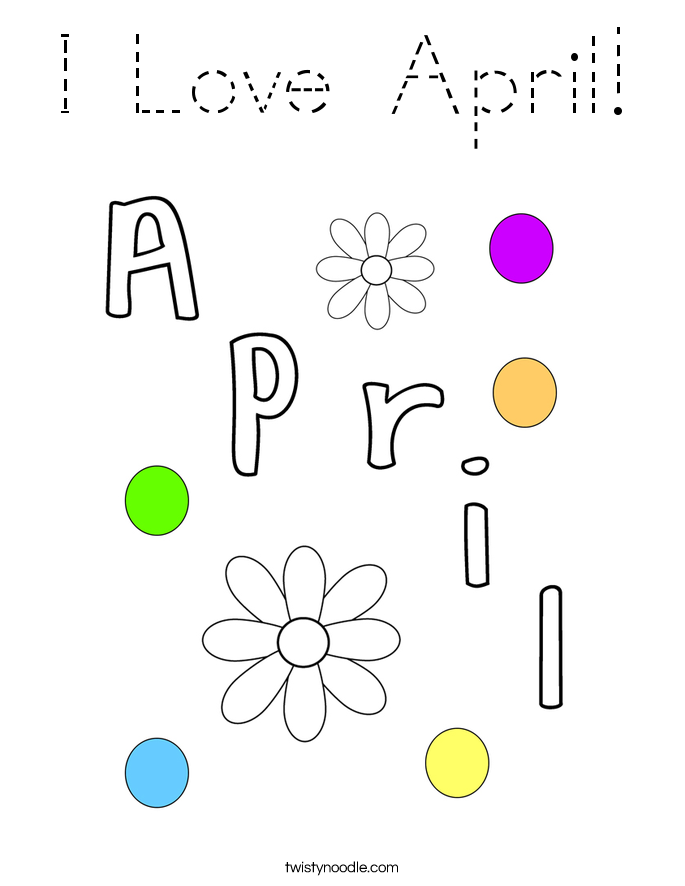 I Love April! Coloring Page