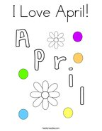 I Love April Coloring Page