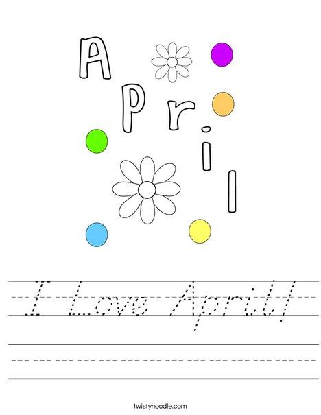 I Love April! Worksheet