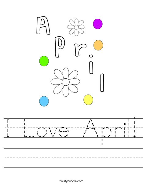 I Love April! Worksheet