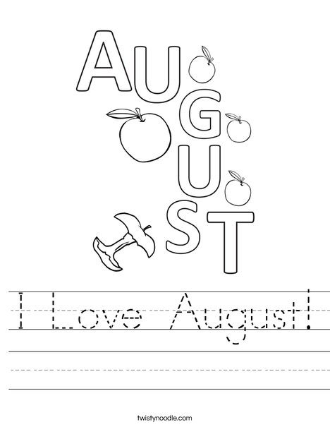 I Love August! Worksheet