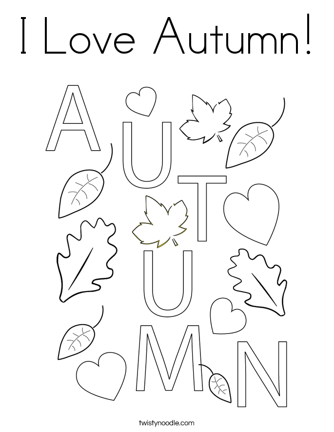 I Love Autumn! Coloring Page