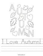I Love Autumn Handwriting Sheet