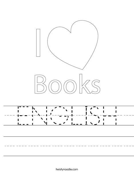 I Love Books Worksheet