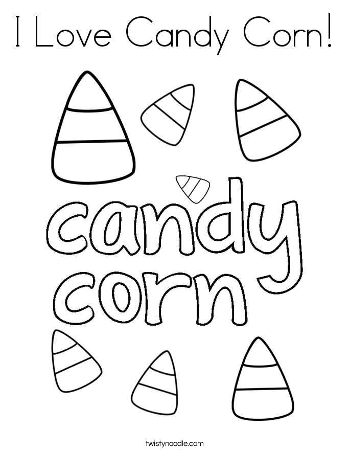 I Love Candy Corn! Coloring Page