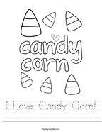 I Love Candy Corn Handwriting Sheet